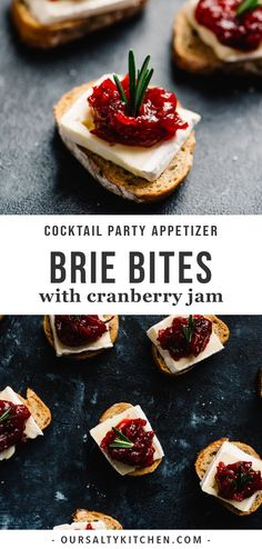 These cranberry brie bites are an easy, fun, and gorgeous cocktail party appetizer. Vegetarian and make-ahead friendly! Make Ahead Appetizers, Christmas Appetizers, Appetizers For Party, Appetizer Recipes, Easy Vegetarian Appetizers, Vegetarian Finger Food, Burger Recipes, Brie Bites, Beste Cocktails