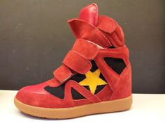 Isabel Marant Star Sneakers High Top Suede Leather Red Black  $172.00