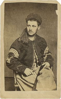 """Civil War CDV Portrait of a Pennsylvania Zouave Sergeant. Probably the 76th Penn. In the photo, he cradles a non reg foot officer's sword with single branch guard. Backmark of """"Jamison & Benson,..."""