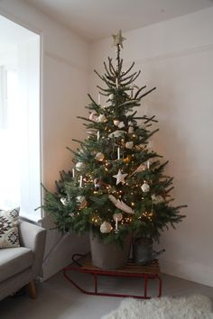 Superieur WEBSTA Lu0027ve Bought A Small Christmas Tree Today To Have In Our Kitchen Itu0027s  All Snowy And Gorgeous 🎄I Would Love A Scandi Style Sleigh To Put It On,  ...
