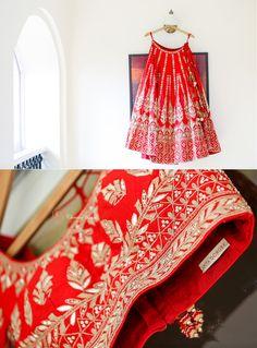 red bridal lehenga, gota patti lehenga, red gota patti lehenga, anita dongre bridal lehenga, red and silver lehenga, rustic lehenga, classic lehenga, monochrome lehenga