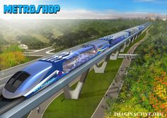 The Metroshop is a commuting train concept that integrates grocery stores… Transportation Technology, Future Transportation, Futuristic City, Futuristic Technology, Objet Star Wars, Urban Island, Future Buildings, Rolling Stock, Aircraft Design
