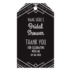 Thank you Tag Silver Gatsby Art Deco Bridal Shower - shower gifts diy customize creative Art Deco Party, Art Deco Wedding, Diy Wedding, Silver Wedding Invitations, Wedding Favor Tags, Custom Ribbon, Personalized Gift Tags, Thank You Tags, Shower Gifts