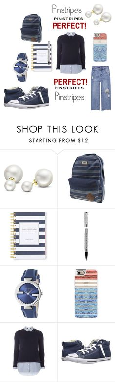 """""""Perfect Pinstripes"""" by mandimwpink ❤ liked on Polyvore featuring Allurez, Vans, Day Designer, Versace, Gucci, Casetify, Dorothy Perkins, Converse, perfect and pinstripes"""