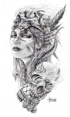 Black and grey half sleeve tattoo design, one of my favorites.