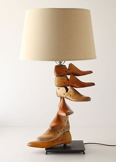 Upcycled vintage wooden shoe form molds into an interesting lamp; upcycle, recycle, salvage, diy, repurpose! For ideas and goods shop at Estate ReSale & ReDesign, Bonita Springs, FL