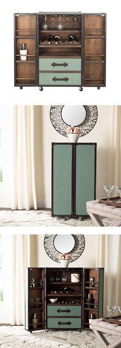 Steamer Trunk Bar Cabinet in Sage ==