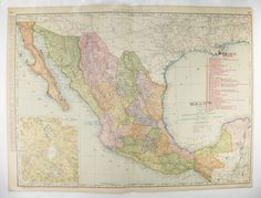 Large Mexico Map, 1903 Antique Map of Mexico, Railroad Map, Vintage Mexican Decor Wall Map, Mexico Gift for Friend available from OldMapsandPrints.Etsy.com #Mexico #VintageMapofMexico #LargeMexicoMap