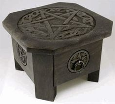 "Celtic Pentagram Altar Table with Drawer 7 1/2"" - pagan wiccan witchcraft magick ritual"