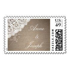Burlap and Lace Custom Wedding Postage