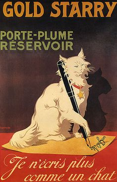 Gold Starry Star White Cat Letter Writing French Vintage Poster | eBay