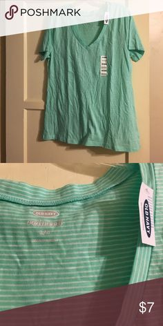Old Navy Shirt Sorry it's wrinkly-been in storage! Brand new with tags attached, V-neck green with thin white striped top from Old Navy-Size Large. Old Navy Tops Tees - Short Sleeve