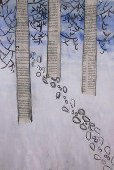 4.B  Winter Crafts For Kids, Art For Kids, Winter Thema, Primary School Art, January Art, Newspaper Art, 3rd Grade Art, Winter Project, Art Curriculum