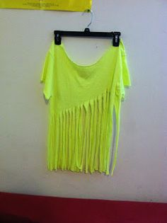 DIY Fringe Shirt... I love the color and this would be a cute bathing suite cover up or bikini
