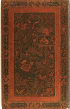 Book cover from a volume of the Gulshan Album, painted with colors and gold and lacquered, ca. 1595-1632