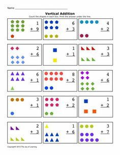 Math Worksheets, Addition Worksheets, Sums 1-10, Vertical