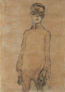 Ningún artista estuvo tan obsesionado con su propia imagen como Egon Schiele. A partir de 1910 su narcisismo, o su esquizofrenia, le llevaron a autorretratarse en todo tipo de actitudes, en numerosas posturas y gestos, con un erotismo muy provocador. El artista se representa tanto desnudo —a modo de san Sebastián herido— como vestido con todo un repertorio de disfraces en el papel de actor caricaturesco de una gestualidad cercana a lo grotesco.