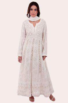 Ivory Chikankari With Kamdaani Anarkali Pure Georgette Suit
