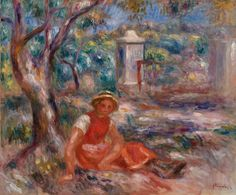 """The print product offering We now provide you the exclusive chance to turn your home into a fine art gallery. The Artprinta artpiece gallery includes this artwork from the year 1914  with the name """"Girl at the Foot of a Tree (Girl in a tree)"""" from  the French painter Pierre-Auguste Renoir.   About this article          Product type: art print   Reproduction: digital reproduction   Production process: digital printing   Product Origin: German-made   Stock type: production on demand   Proposed pr Pierre Auguste Renoir, Modern Artists, French Artists, August Renoir, Renoir Paintings, Barnes Foundation, Oil On Canvas, Canvas Prints, Fine Art Gallery"""