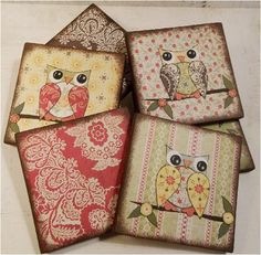 Owl Bird Coasters Decoupaged Wood Wooden Drink Coaster Set of 6 MADE TO ORDER By Gifts And Talents