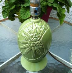 Vintage Art-deco Green Ceramic Table Lamp