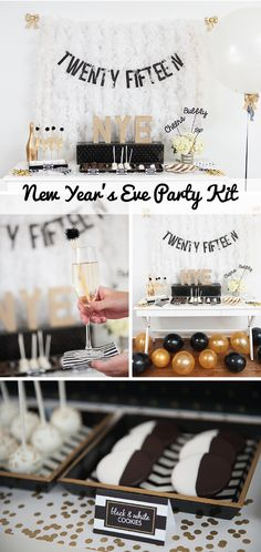 Everything for a chic, black and gold NYE party all in one box! | New Year's Eve Party Kit