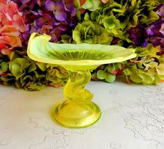 Northwood Petticoat Dolphin Canary Yellow Vaseline Opalescent Glass Compote  #Northwood