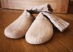 Candy milk / ECO friendly felted slippers
