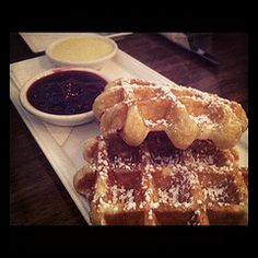Waffles with jam and butter Vancouver Restaurants, Vancouver Food, Belgian Waffles, French Toast, Food And Drink, Butter, Eat, Breakfast