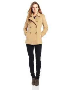 Kenneth Cole Women's Short Double Breasted Wool Peacoat, Putty, 6 ...