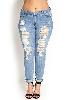 Distressed Boyfriend Jeans | FOREVER 21 - 2055879775