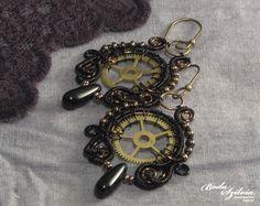 Steampunk earrings, 'Time keeper' collection by bodaszilvia.deviantart.com on @deviantART