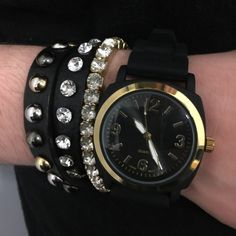 """Viscid Watch Black with gold Viscid Watch Black with gold hardware. 9"""" X 1.5"""". New in original packaging. Never worn. Bracelets to show styling only. Anthropologie Accessories Watches"""