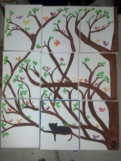 Binx's Dream Tree, bird theme nursery artwork. Bird in tree art. Cat with birds art,