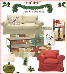 IKEA Ektorp slipcovers for the holidays Ikea Ektorp Cover, Life Space, Ikea Inspiration, Ikea Furniture, Slipcovers, Your Space, Color Schemes, Love Seat, Diy Projects