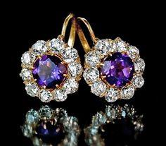 Vintage Russian Amethyst And Diamond Cluster Earrings  c. 1910