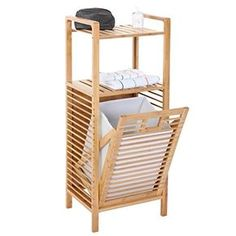 Serie legno bambu Narita arredo bagno scaffale a 2 ripiani con portabiancheria 30x40x100cm
