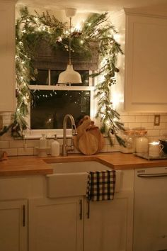 Christmas lights framed window