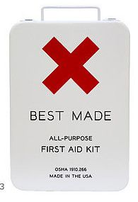 first aid kit to go with a subway tiled bathroom