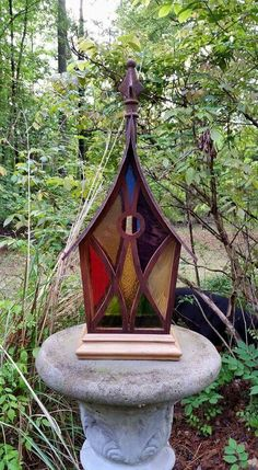Stained glass birdhouse.