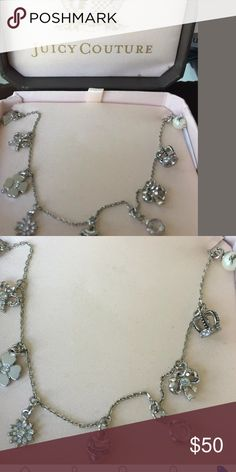 """JUICY COUTURE  CHARM NECKLACE /Valentine Day Gift? Authentic never worn beautiful, feminine necklace with silver, pearl, rhinestone,heart, bow and crown adjusts from 16"""" to 19"""" long Juicy Couture Jewelry Necklaces"""