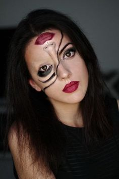 My tutorial on Half-Face Halloween Make up, a quick last minute make up . - My tutorial on Half-Face Halloween Make up, a quick last minute make up for Halloween that every girl can put on makeup. Half and half makeup for Halloween face Visage Halloween, Cute Halloween Makeup, Halloween Makeup Looks, Up Halloween, Halloween Costumes, Diy Costumes, Halloween Makeup Last Minute, Facepaint Halloween, Crazy Costumes