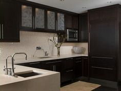 Brown kitchen.