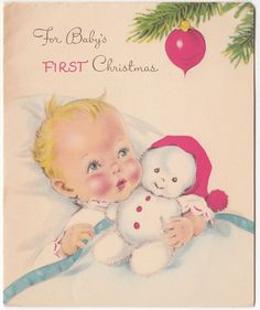 Vintage Greeting Card Christmas Snowman Doll Baby's First Christmas Norcross