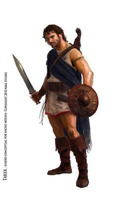 Guerrero celtíbero. Con caetra y espada de antenas atrofiadas.