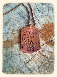 Hand stamped dog tag necklace  love by taggyourit on Etsy, $22.00
