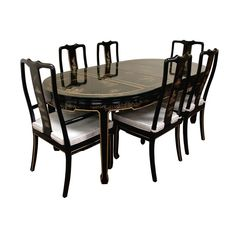 Black Lacquered With Mother Of Pearl Oriental Dining Table Set ...