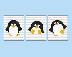 Baby Nursery Penguins Art Print, Baby Girl or Boy Cute Penguins Have Fun Set, Bedroom Decor-A160, A161 & A162 -Custom Colour-Unframed on Etsy, $25.53