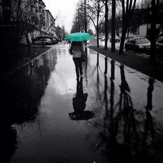 Green Umbrella by codesweeper, via Flickr | black white grey  green + street scene people + umbrella + iphoneography