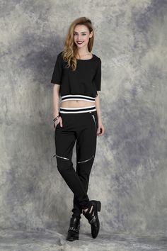 Black Stripe Trousers